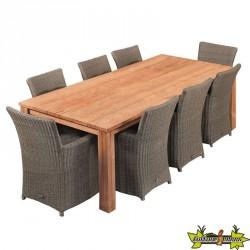 TABLE DE JARDIN RUSTIQUE EN TECK ROBUSTE 300 X 100CM