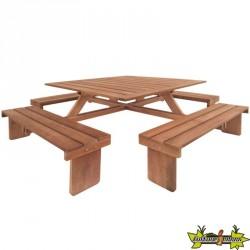 Tuindeco - Table de pique-nique Carrée - En bois dur