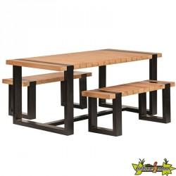 Tuindeco - Table + bancs - Teck et acier noir
