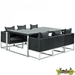 ENSEMBLE LOUNGE DINER SPRINGFIELD WICKER NOIR