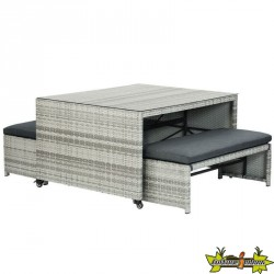 ENSEMBLE PIQUE NIQUE AUGUSTA 2 WICKER GRIS