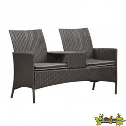 LOVESEAT TRESSE WICKER NOIR BRENTWOOD