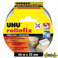 36530 UHU ROLLAFIX EMBALLAGE RUBAN TRANSPARENT 66MX50MM