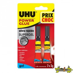 36730 UHU POWER GLUE GEL 2X3G PRIX CHOC