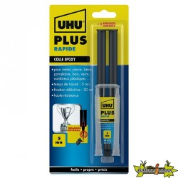 39900 UHU COLLE EPOXY RAPIDE PLUS SERINGUE + MIXER 15G