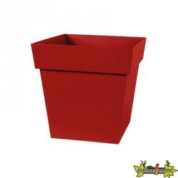 EDA - Pot carré Toscane - Rouge rubis - 87 L - 50 cm