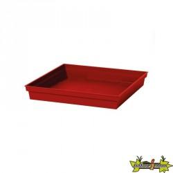 EDA - Soucoupe carrée Toscane - Rouge rubis - Pour pot Toscane 50 cm