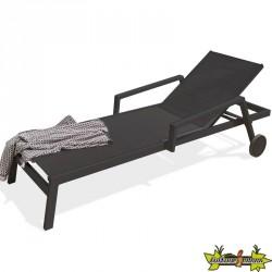 Chaise longue en alu - Ibiza - Noir