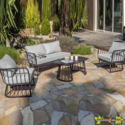 DCB - 4 places -Salon de jardin Apolline - Gris Anthracite