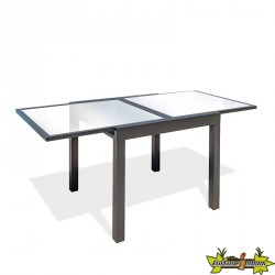 TABLE TOLEDE 90/180X90CM AVEC RALLONGE GRIS ANTH