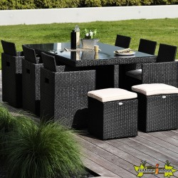 DCB - 10 places - Encastrable - Salon de jardin - noir - Plateau verre