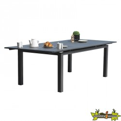 TABLE MIAMI 180/240X100 CM AVEC RALLONGE GRIS ANTH