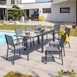 DCB - Ensemble de jardin - 6 chaises - 2 fauteuils - Toléde 270 - Gris