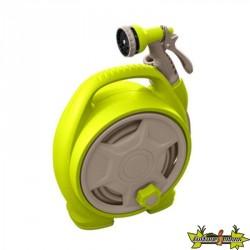 Jardibric - Mini dévidoir portable équipé 10M - 10mm - Vert anis et taupe