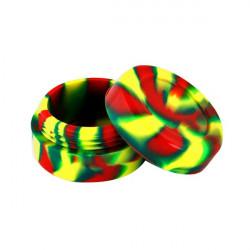 Boîte silicone diamètre 3,6 cm verte, jaune et rouge