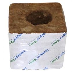 SpeedGrow Green - Cubes laine de roche 7,5x7,5cm Trou 28x35 mm Carton de 224 pièces