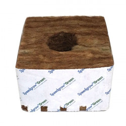 SpeedGrow Green - Cubes laine de roche 10x10x6,5cm Trou 38x35 mm Carton de 120 pièces