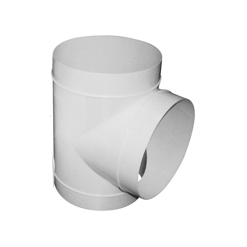 T PVC 100mm pour gaine ventilation